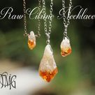 Raw Citrine Bi-Color Necklace, November Birthstone, Citrine Necklace, Citrine Rough Necklace, Genuine Gemstone Necklace, Crystal Necklace