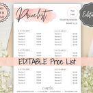 Editable PRICE LIST Template. Printable Price Sheet, Price Guide, Hair Salon, Hairdresser, Beauty, P