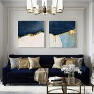 Printable wall art 2 pieces Abstract Gold Print on Canvas Navy blue Print art ready to hang set of 2