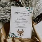 Winter Baby Shower by Mail Invitation, Christmas Reindeer wearing Mask, Printable Template, INSTANT DOWNLOAD - XM4 masked