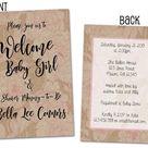 Country Kraft Girl Baby Shower Invitations - 24 Count + Envelopes / 4x6 / White