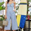 Faded Denim Stripe Jumpsuit   L