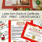 Editable Letter from Santa Certificate and Envelope, Printable Santa Claus Letter, Template, Personalised Nice List Certificate Christmas