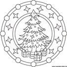 Mandala Malvorlage zu Weihnachten   Weihnachtsbaum