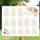 Wedding seating chart printable Gold guests list watercolor   Etsy