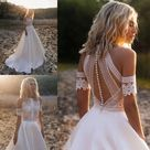 Bohemian Wedding Dresses Lace Satin Bridal Gowns   Way2Mall