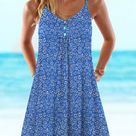 Anniecloth Summer Dresses 1 Floral Dresses Casual V Neck Sleeveless Holiday Dresses