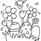 Ausmalbild Ostern: Ostereier und Osterblumen kostenlos ausdrucken