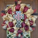 Burlap Cross Wreath