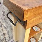 Autumn Sale Country Cream Solid OAK Railway Sleeper Butchers Block Farrow & Ball Painted Compact Kitchen Island Table