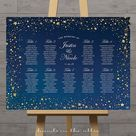 Stars wedding seating chart, celestial night, gold stars guest table plan wedding printable board night sky table assignment, DIGITAL