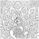 Squared coloring page of a peacock - Peacocks Coloring Pages for Adults - Just Color