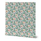 Peel & Stick Wallpaper Swatch - Polka Dots Pink Flowers Vintage Floral Custom Removable Wallpaper by Spoonflower