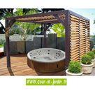 Auvent bois VENETO à ventelles 12 m² - TONNELLES - AUVENTS - COUR...