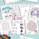 Unicorns Activity coloring pages Booklet for Kids   | Etsy
