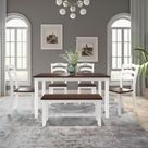 August Grove 6 Piece Dining Table Set w/ Bench And 4 Chairs Brown/Green/White 30.0 x 36.0 x 54.0 in, Wood   Wayfair Canada