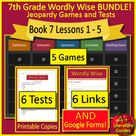 Book 7 Lessons 1 - 5 Bundle - 7th Grade Wordly Wise 3000 - 5 Games and 6 Tests