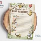 Classic Winnie The Pooh Baby Shower Games/ Emoji Emojis Pictionary Card / Instant Download / 5x7 inches