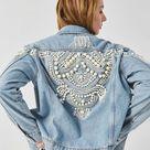 Boho Inspired Bead Embellished Denim Jacket women cotton winte women coat bomber jacket vintage jacket coat pearl 2020 outwear L
