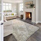 Silvery Champagne High Pile Lush Designer Shag Area Rug/Carpet - Zack - 5' X 7' / Silver