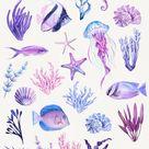 Watercolor underwater clipart, Nautical clip art, Sea life, Fish, Coral Reef, Summer, scrapbook, wall art decor Instant download PNG