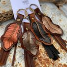 Feather leather keychain   Etsy