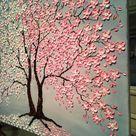 Cherry Blossom Tree Original Painting Oil Impasto Painting   Etsy