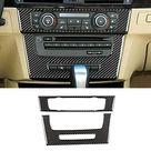 ViCiCA Carbon Fiber AC Air Conditioning CD Control Console Panel Trim Cover Sticker Frame for BMW 3 Series E90 E92 E93 2005 2012 Car Interior Accessories Stickers Decor   black