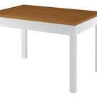 Zweifarbiger Küchentisch 80x120 Esstisch Massivholz Platte Eiche gebeizt Gestell weiß 90.70-51BE