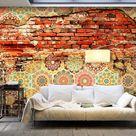 murando Fototapete 350x256 cm Vlies Tapeten Wandtapete XXL Moderne Wanddeko Design Wand Dekoration Wohnzimmer Schlafzimmer Büro Flur Ziegel Ornament Mosaik Fliese Mauer f-A-0527-a-c