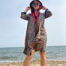 1960s 1970s Leopard Print Robe-Housedress-Housecoat-Nylon-Vanity Fair-Size 38-Vamp-Pin Up-Sexy-Daywear-Eveningwear-Bad Girl-Nightdress-Swim