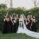 Black Strapless Bridesmaids Dresses for Summer Wedding in California