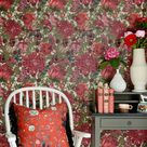 The Flowering Wallpaper in Green and Red from the Transylvanian Roots Collection by Mind the Gap