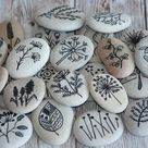 Painted Stones - Sea Pebbles with Nature Designs, white black, floral motifs, flowers, plants, original home decor, meditation stones
