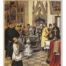 30cm Photo. Public sign petition against divorce in sacristy, by