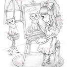 Coloring Page Digital stamp Digi Cat Painter Portrait | Etsy