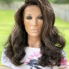 Dark Brown Curly Lace Frontal Wig  Blonde Highlights  Human   Etsy