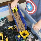 Construction Truck Sensory Bin - Frugal Fun For Boys and Girls