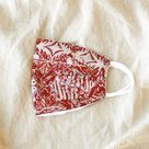 ROSELLA Triple Layer Vintage Batik Pleated Face Mask, in Red