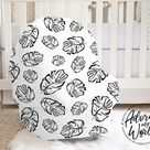 Car Seat Cover Baby, Black and White, Palm Leaves, Tropical Leaf, Nursing Privacy Cover, Gender Neutral, Breastfeeding, Baby Car Seat Canopy