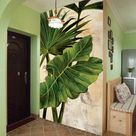 Oil Painting Tropical Banana Leaves with Plam Leavs Wall Mural, Hand Painted Tropical Banana Leaves Wall Mural for for Wall Porch Corridor