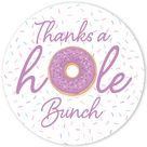 Donut Baby Shower Thank You Stickers   40 Labels 4 Colors   Purple Pastel