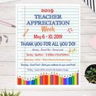 Teacher Appreciation Week Flyer, Notebook, Elementary Teacher Appreciation,  PTA, PTO, School Event, Easy to use Template