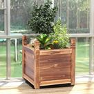 Millwood Pines Square Pine Wood Planter Box Raised Garden Bed, Size 27.56 H x 11.8 W x 14.96 D in | Wayfair