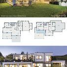 Moderne Einfamilienhaus Villa mit Garage & Flachdach im Bauhausstil bauen, Haus Grundriss Ideen