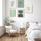 Set of 5 Green Abstract Gallery Print Mid Century Boho | Etsy
