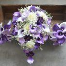 Purple Calla Lilies Plum Roses Real Touch Flowers Bridal Bouquet Bridesmaids Bouquets Royal Purple Lilac Bouquets