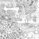 Playful Kitty - Printable Adult Coloring Page from Favoreads (Coloring book pages for adults and kids, Coloring sheets, Coloring designs)