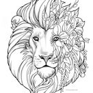 Fantasy Lion   Printable Adult Coloring Page from Favoreads Coloring book pages for adults and kids, Coloring sheets, Coloring designs