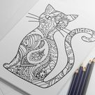 Animal Coloring Pages for Adults Owl Drawing Cat to Color | Etsy